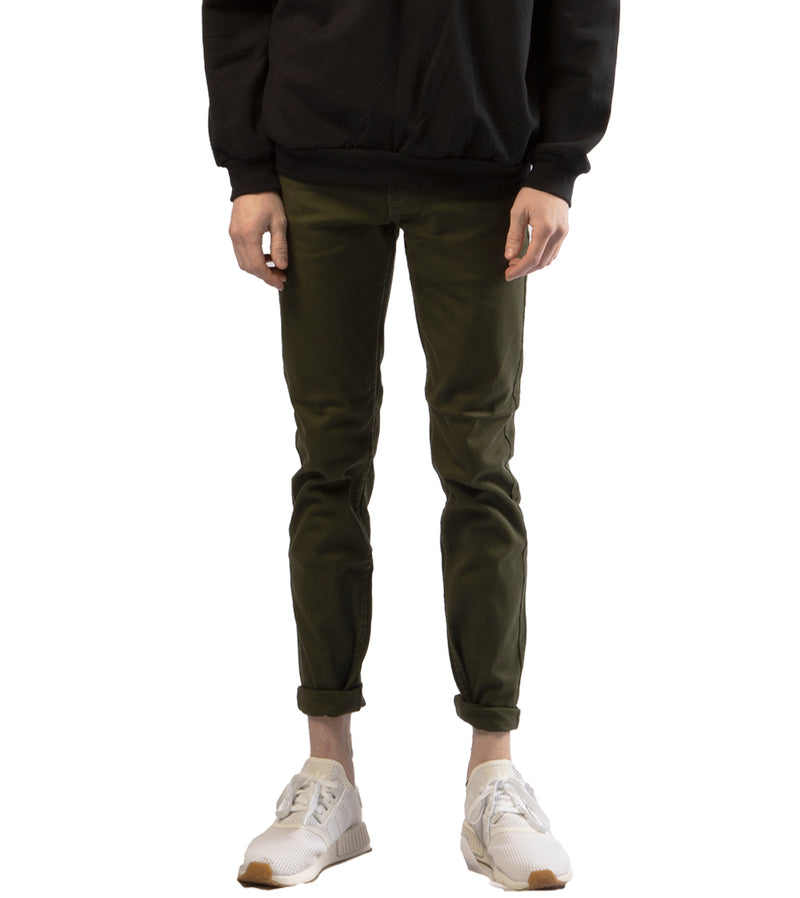 MEN COLORED SKINNY TWILL JEANS - OLIVE