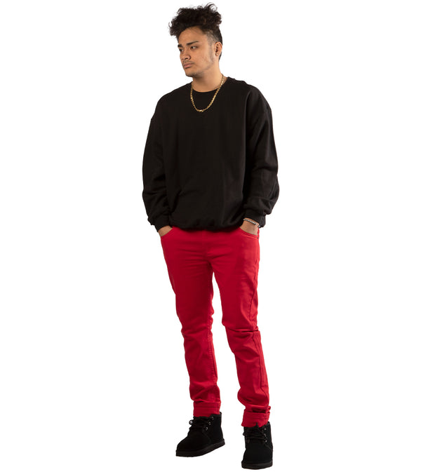 MEN COLORED SKINNY TWILL JEANS - RED