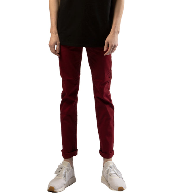 MEN COLORED SKINNY TWILL JEANS - BURGUNDY