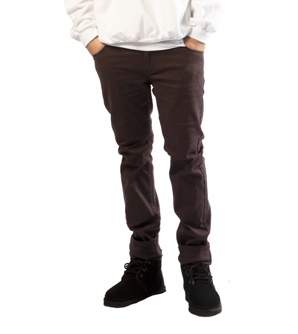 MEN COLORED SKINNY TWILL JEANS - CHARCOAL