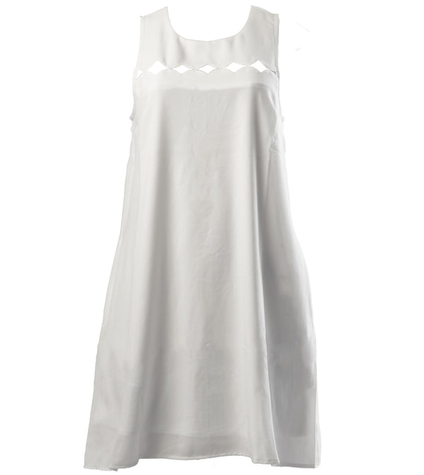 WOMEN DIAMONDS CUT OUT A-LINE DRESS - WHITE