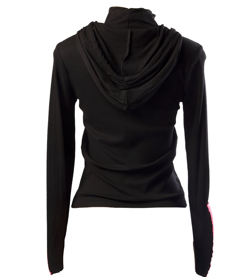 WOMEN RIBBED HIGH NECKLINE WITH HOT PINK ZIP SLEEVES HOODED TOP