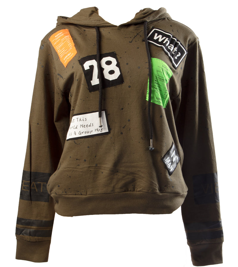 WOMEN PLUS GREAT VIBES SEMI-CROP HOODIE - OLIVE