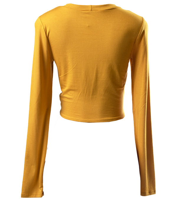 WOMEN BUTTERFLY FRONT TIE CROP TOP - MUSTARD