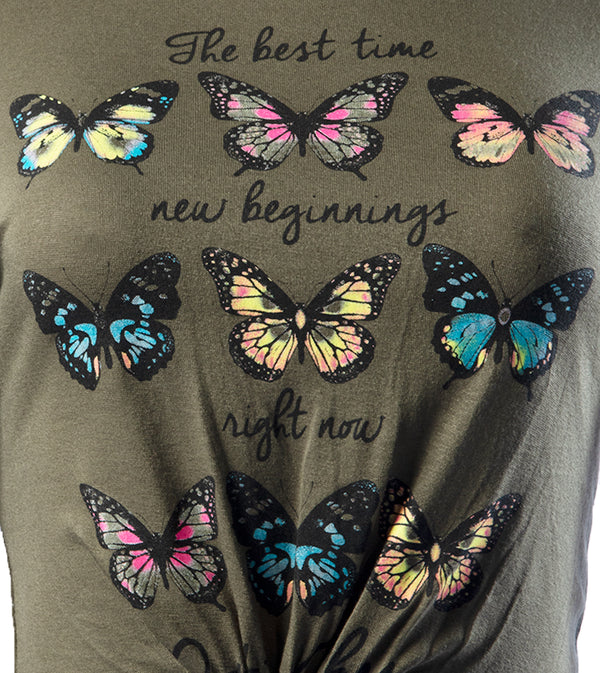 WOMEN BUTTERFLY FRONT TIE CROP TOP - OLIVE