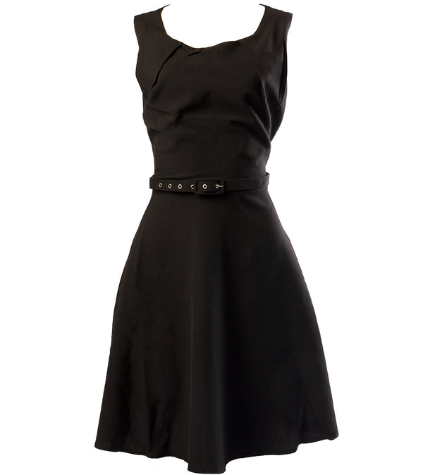 WOMEN A-LINE BLACK DRESS