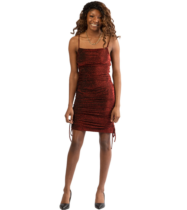 WOMEN METALLIC RED RUCHED BODYCON DRESS