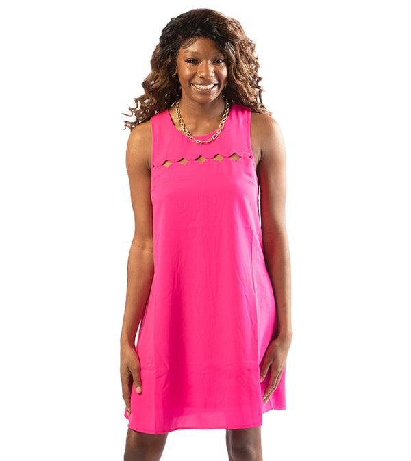 WOMEN DIAMONDS CUT OUT A-LINE DRESS - FUCHSIA