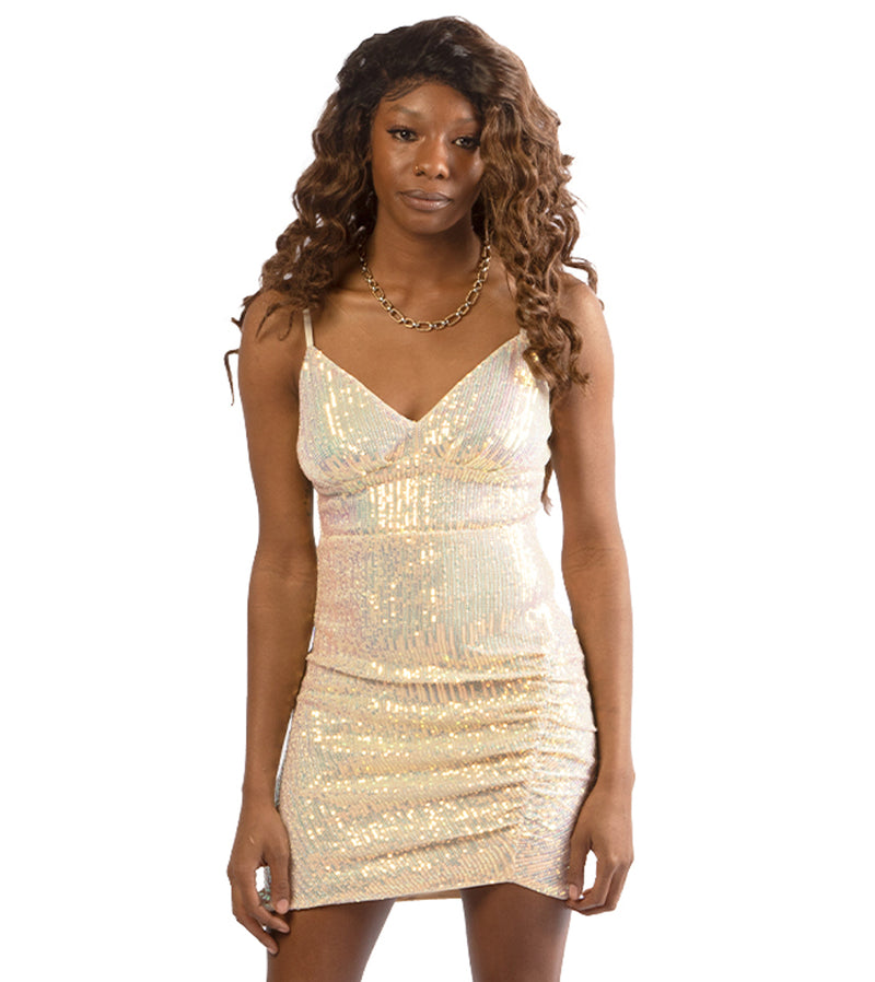 WOMEN CAMI STRAP SEQUIN MINI DRESS - IVORY