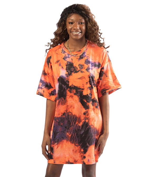 WOMEN MULTI COLOR MINI LOOSE TSHIRT DRESS - ORANGE