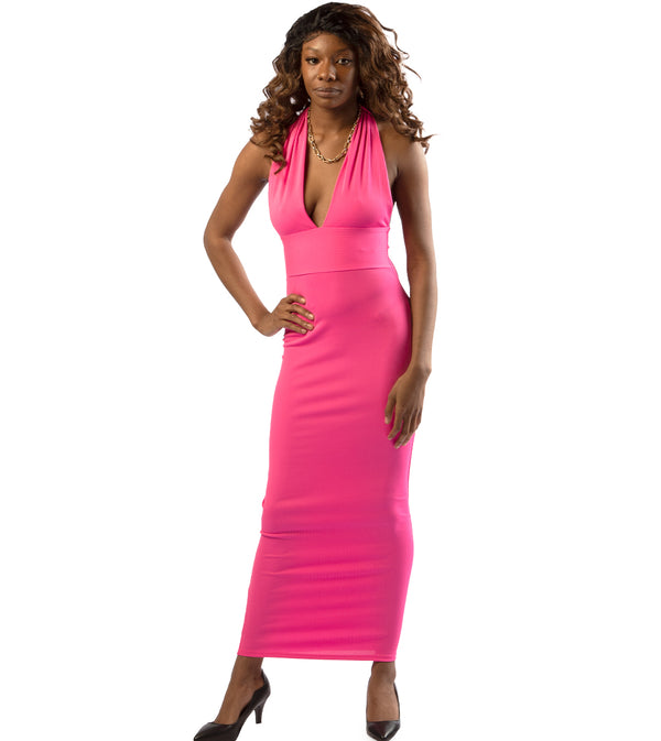 WOMEN HALTER DEEP V-NECKLINE SLEEVELESS BODYCON LONG DRESS - NEON PINK