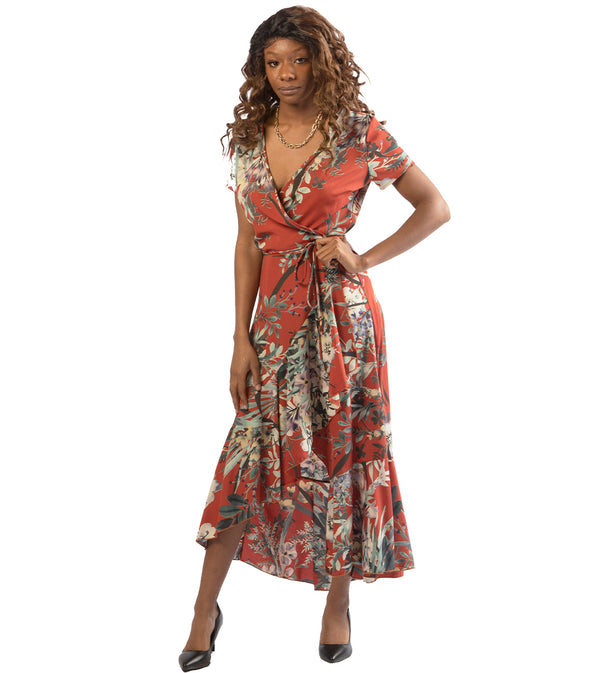 WOMEN FLORAL WRAP DRESS - ORANGE