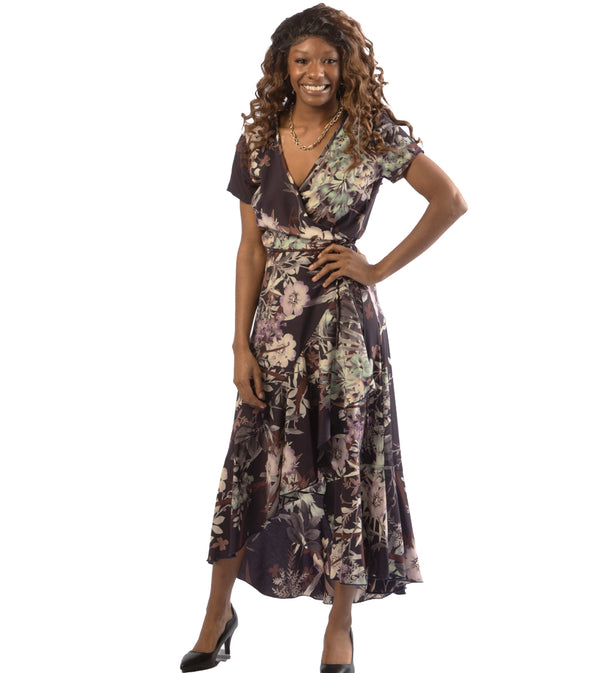WOMEN FLORAL WRAP DRESS - NAVY