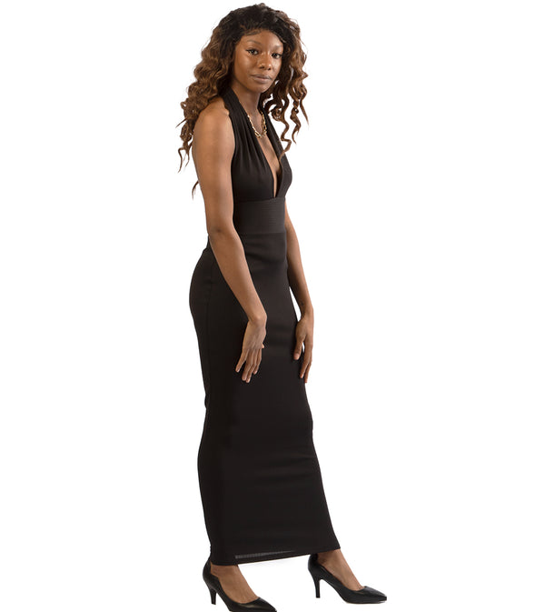 WOMEN HALTER DEEP V-NECKLINE SLEEVELESS BODYCON LONG DRESS - BLACK