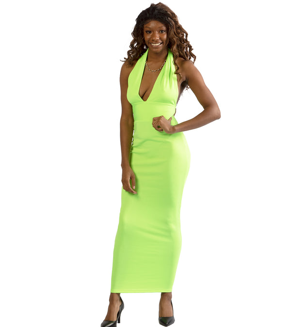 WOMEN HALTER DEEP V-NECKLINE SLEEVELESS BODYCON LONG DRESS - NEON GREEN
