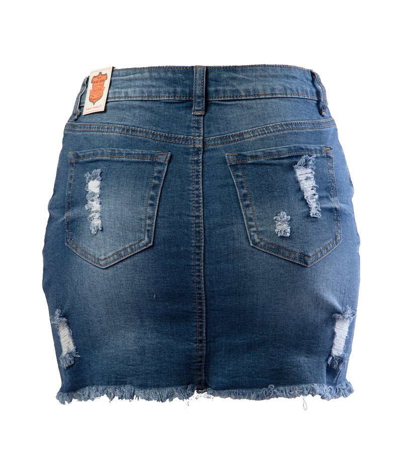 WOMEN MEDIUM WASH MINI DENIM SKIRT