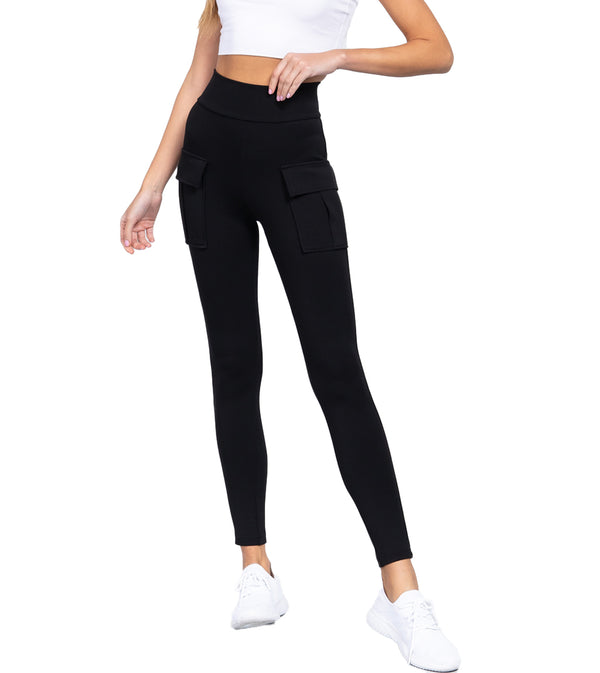 WOMEN WAISTBAND SIDE POCKET JOGGER PANTS - BLACK