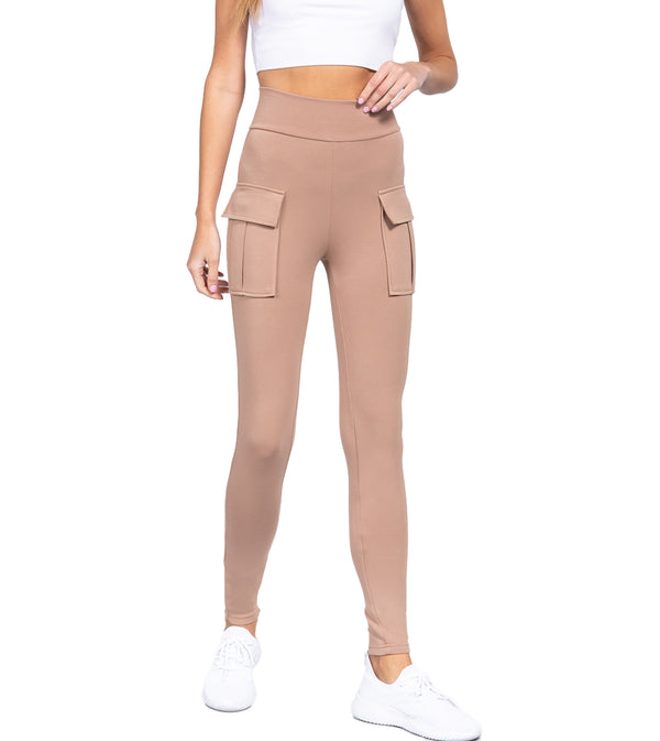 WOMEN WAISTBAND SIDE POCKET JOGGER PANTS - KHAKI