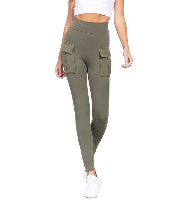 WOMEN WAISTBAND SIDE POCKET JOGGER PANTS - OLIVE