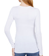 WOMEN COTTON JERSEY V-NECK TOP - WHITE (2PK)