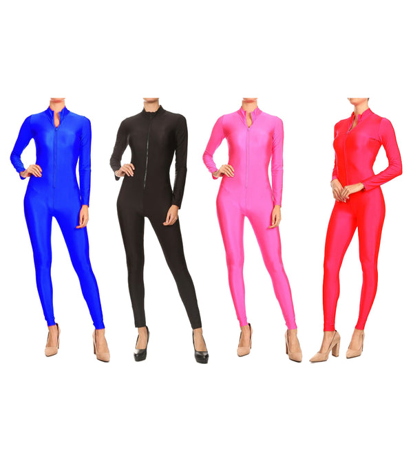 WOMEN FRONT ZIPPER LONG SLEEVE JUMPSUIT