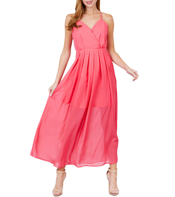 WOMEN V-NECK CROSS BACK STRAP DETAIL MAXI CAMI DRESS - CORAL PINK