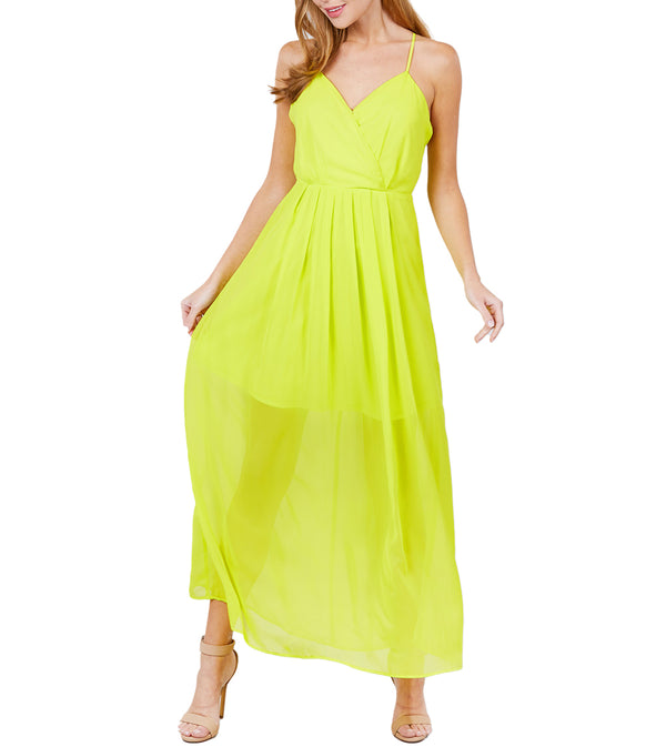 WOMEN V-NECK CROSS BACK STRAP DETAIL MAXI CAMI DRESS - LIME YELLOW