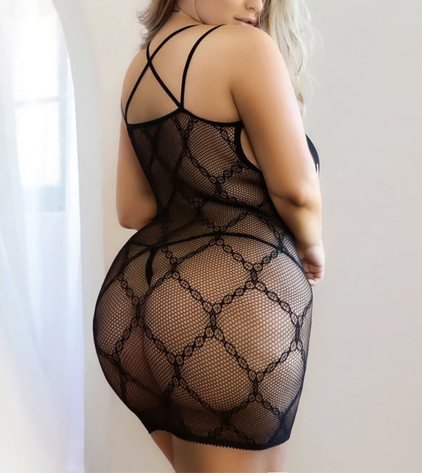 WOMEN CHAIN ALL OVER WITH NIPPLE NET FISHNET DRESS FOR QUEEN