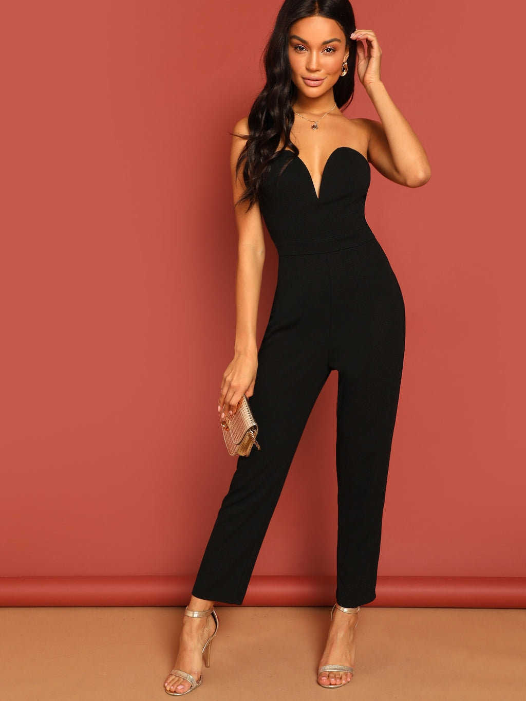 Zip Back Sweetheart Neck Tube Jumpsuit