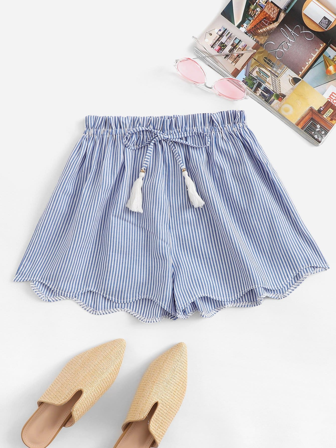 Striped Drawstring Waist Wave Edge Shorts