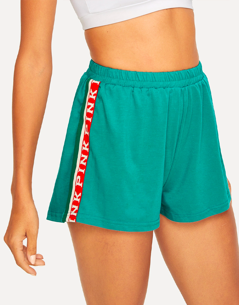 Turquoise Side Stripe Shorts