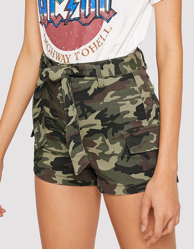 Belted Camo Denim Shorts