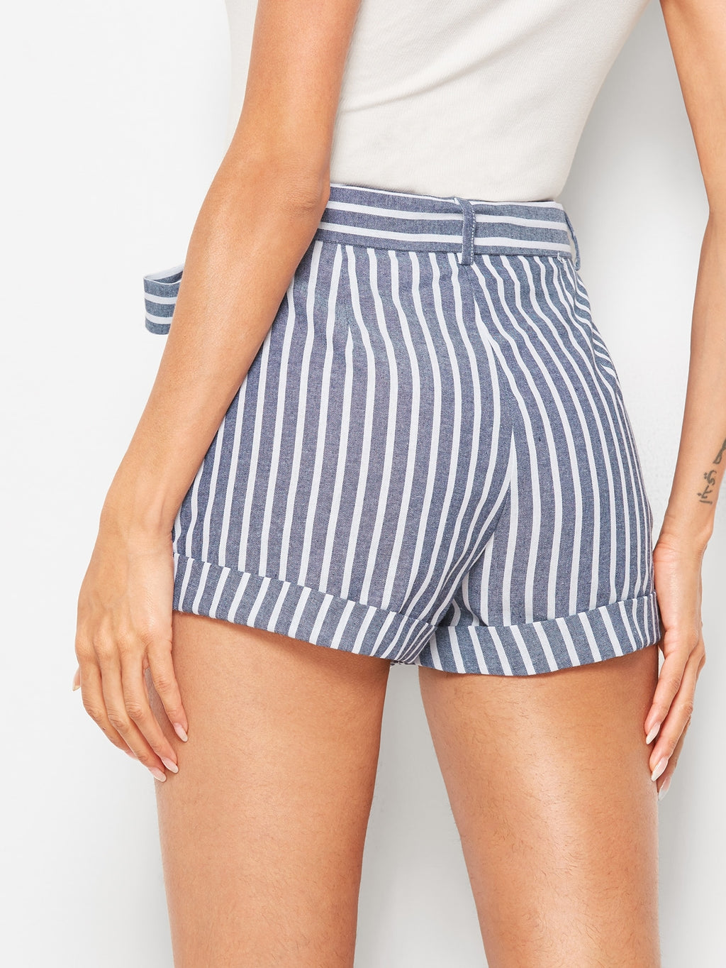 Cuffed Striped Shorts With Belt