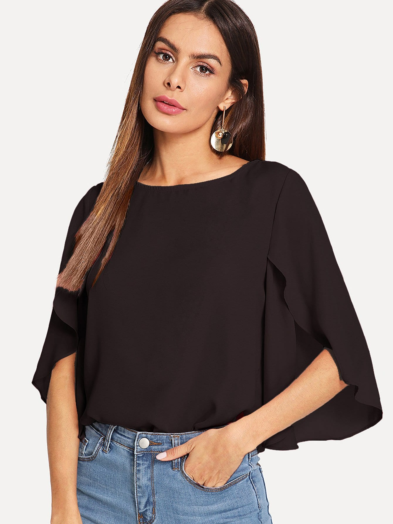 Slit Bell Sleeve Top