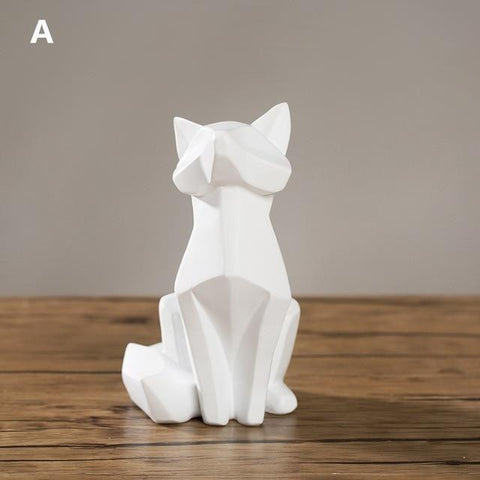 White Fox Geometric  Statue - Zandes