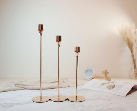 Gold Metal Candle Holders - Zandes