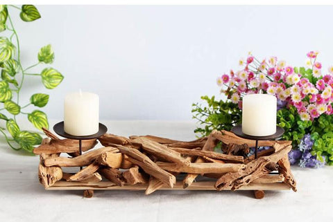 Wooden Home Decor Candle Holder - Zandes