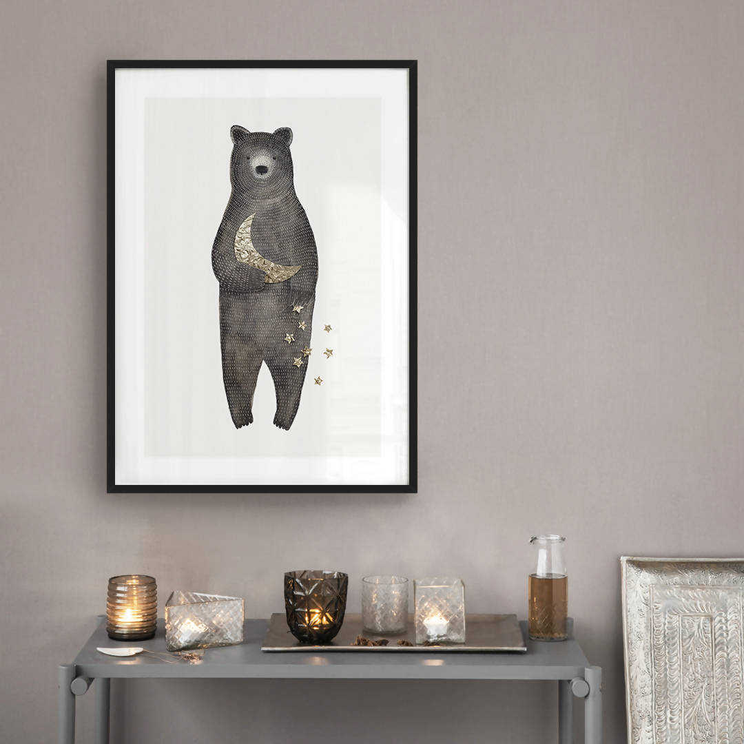 Bear Moon Stars ART PRINT