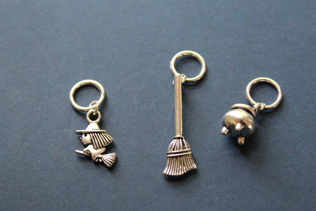 Witch, Broom, Cauldron Knitting Stitch Markers