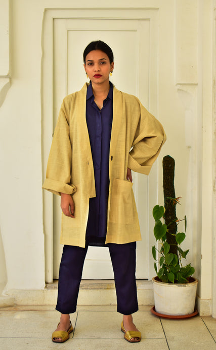 Khadi Coat One Button : Beige
