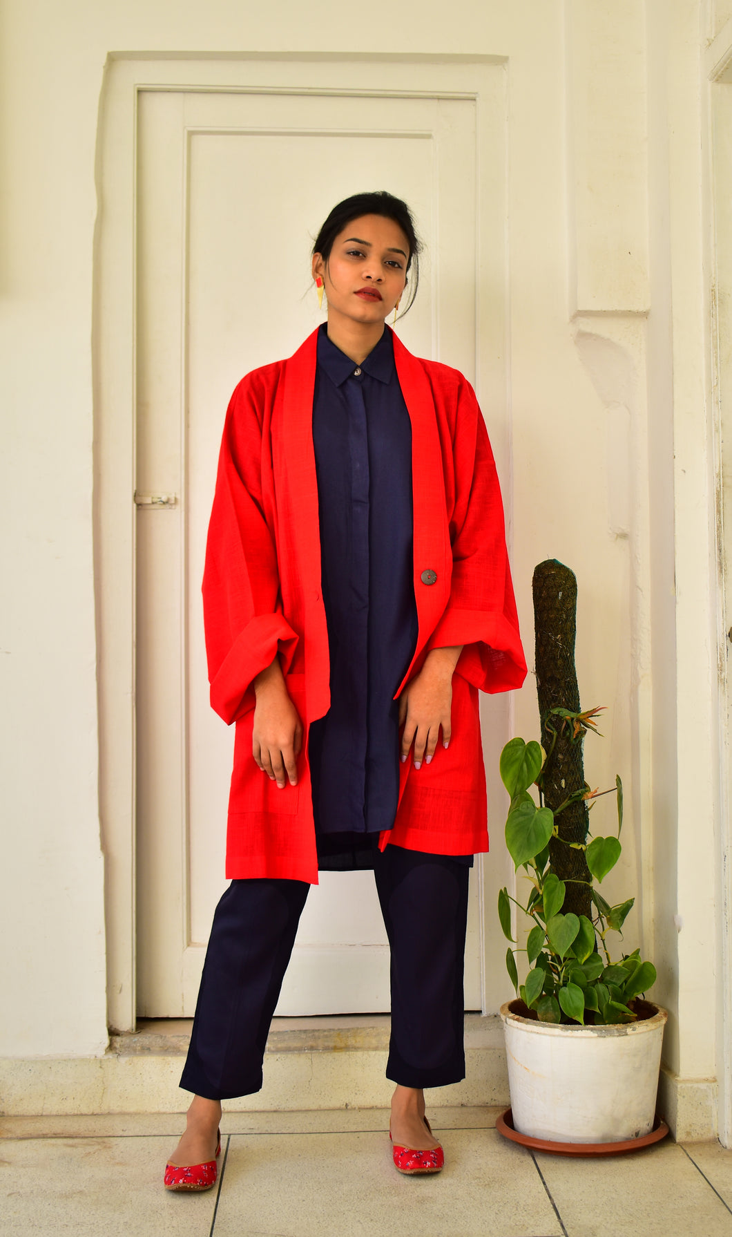 Khadi Coat One Button : Red