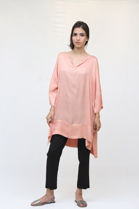 Dusty Pink Long Silk Kaftan