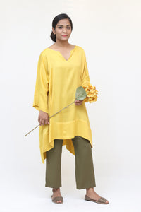 Yellow Silk Long Kaftan