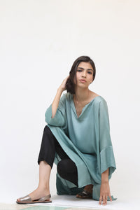 Mint Green Long Silk Kaftan