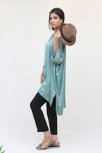 Load image into Gallery viewer, Mint Green Long Silk Kaftan