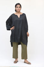 Load image into Gallery viewer, Black Long Silk Kaftan