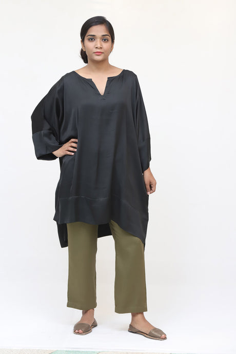 Black Long Silk Kaftan