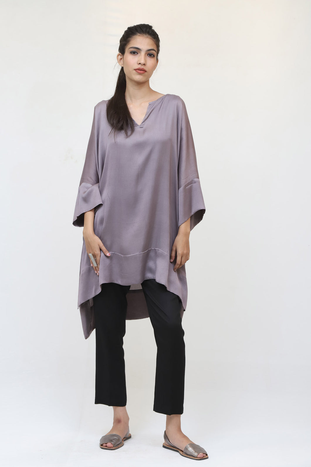 Grey Long Silk Kaftan