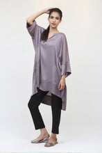 Load image into Gallery viewer, Grey Long Silk Kaftan