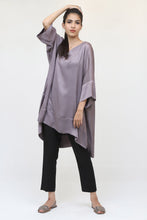 Load image into Gallery viewer, Long Grey Silk Kaftan